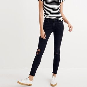 Madewell Mid-Rise Distressed Skinny Jean in Black